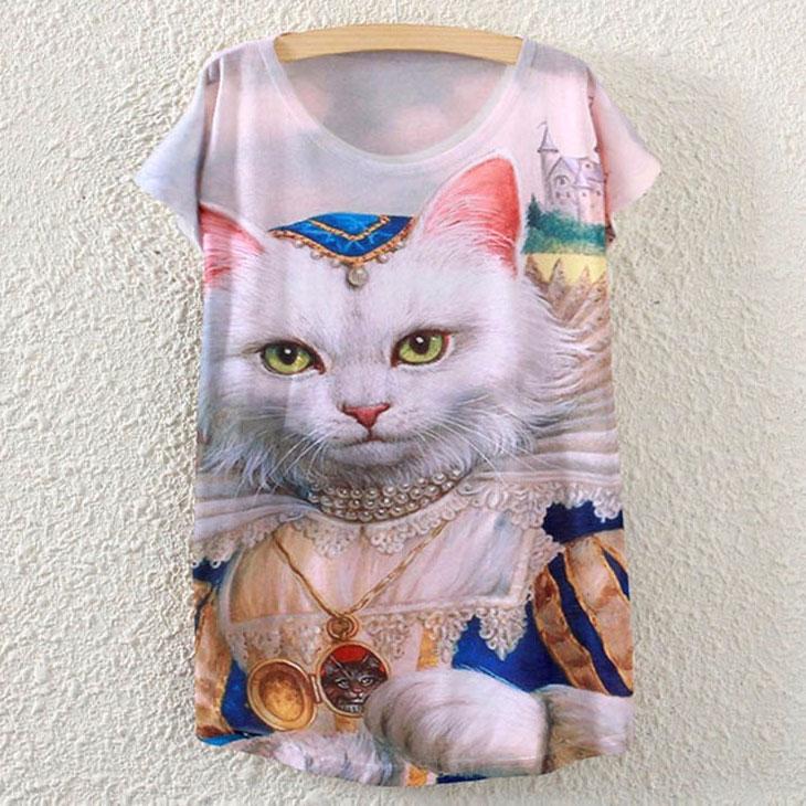 猫の服Tシャツ、セレブの服を着た上品な猫Tシャツトップス、キャットウェア001