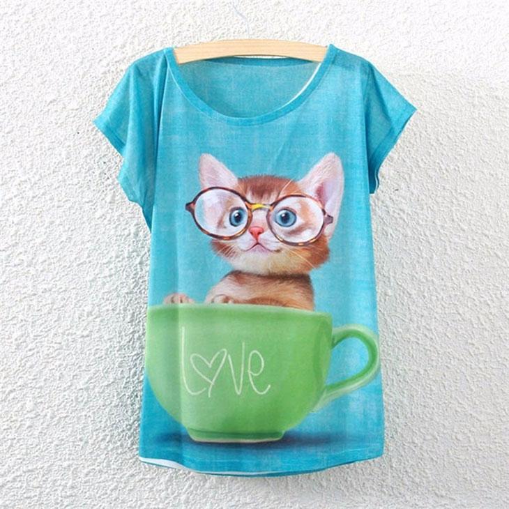 猫の服Tシャツ、マグカップに入ったメガネをかけた茶色の猫Tシャツトップス、キャットウェア002