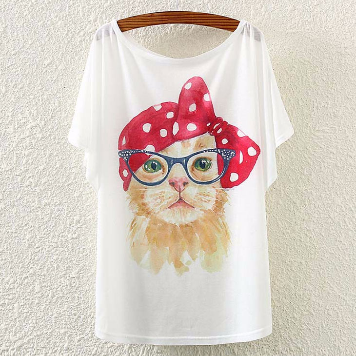 猫の服Tシャツ、赤いリボンのバンダナ帽子にメガネをかけた茶色の猫Tシャツトップス、キャットウェア003