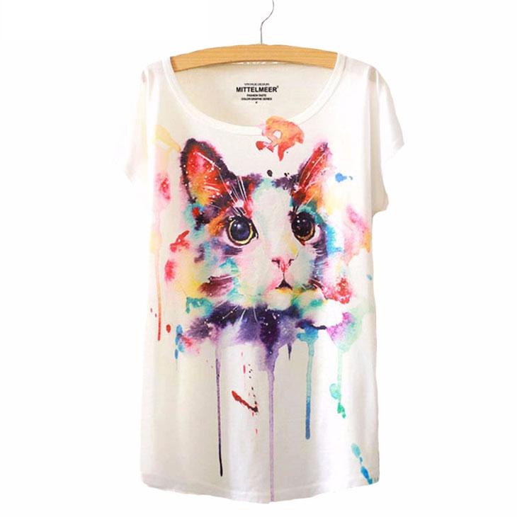 猫の服Tシャツ、抽象絵画の猫Tシャツトップス、キャットウェア005