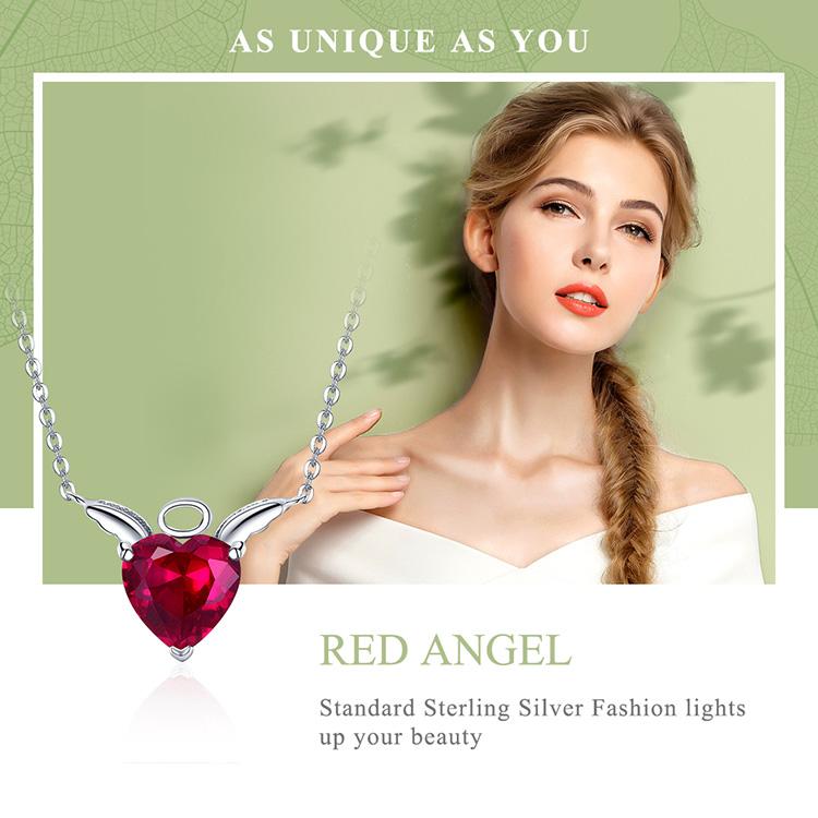天使の羽ペンダントトップ&チェーン付きネックレスアクセサリー、赤いハートのキュービックジルコニアに天使の羽を広げたスターリングシルバー925の天使ペンダントネックレス、エンジェルペンダントジュエリーbamoangel010
