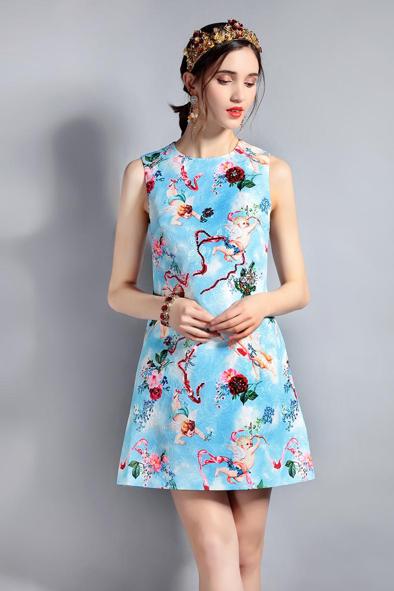 天使の服ノースリーブワンピースドレス、ラッパ吹き天使とキューピット天使たちピンク薔薇と赤い薔薇トップス、エンジェルドレスウェア002
