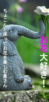象の置物人形、鼻で白い花を持つ象と本を読んでいる象のフィギア、エレファントフィギアオブジェecqdelephant002