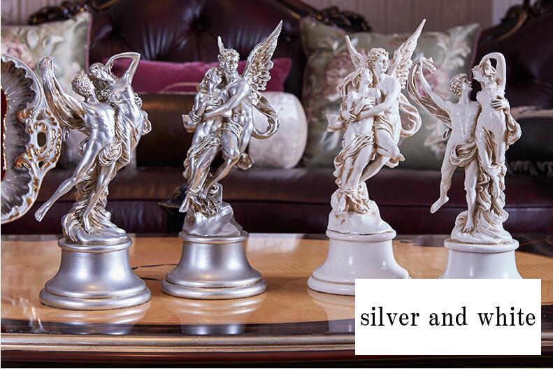 天使エンジェル置物、台座の上で抱き合うダンスをしている天使たち、エンジェルオブジェオーナメントhhdangel005